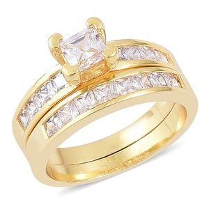 Set of 2 Simulated Diamond Goldtone Rings